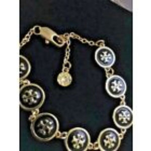 Tory Burch Black & Gold PL Monogram Logo Bracelet